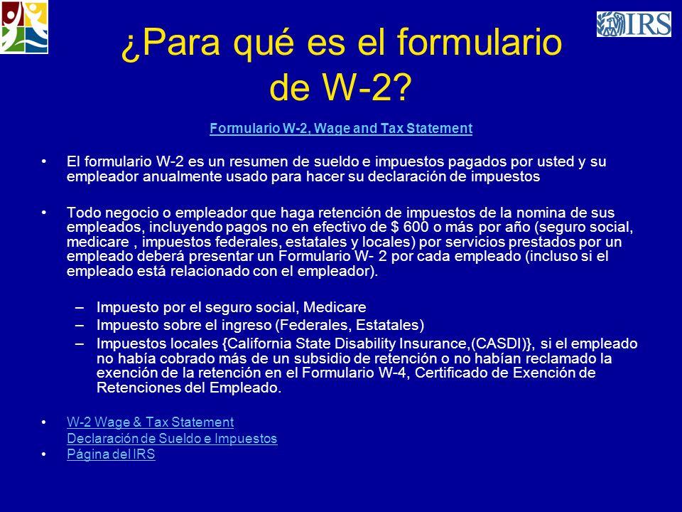 ¿Para qué es el formulario de W-2