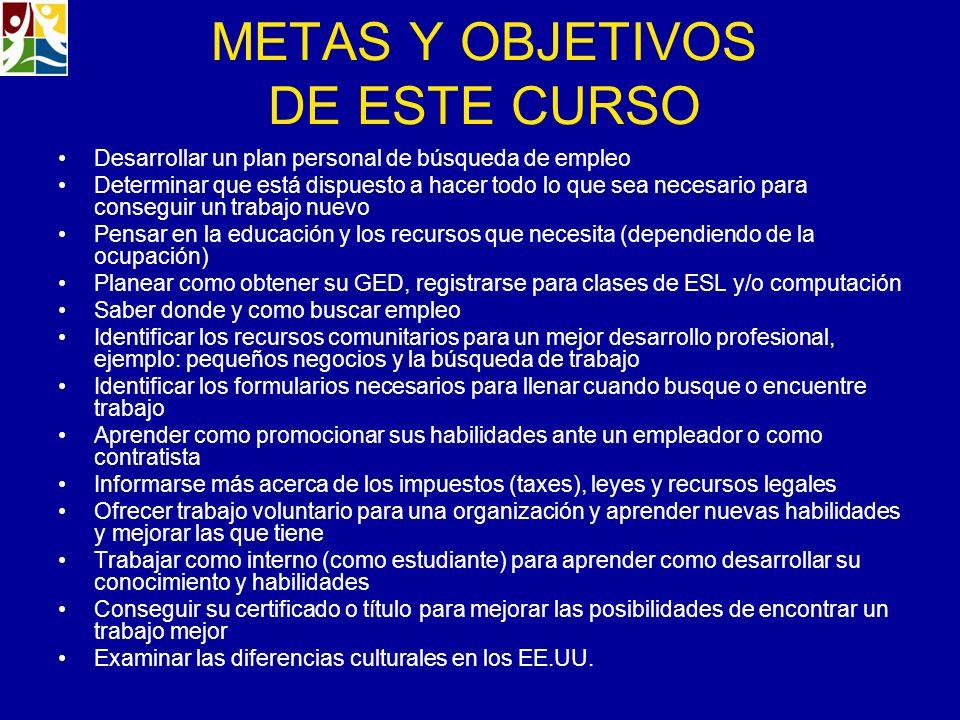 METAS Y OBJETIVOS DE ESTE CURSO