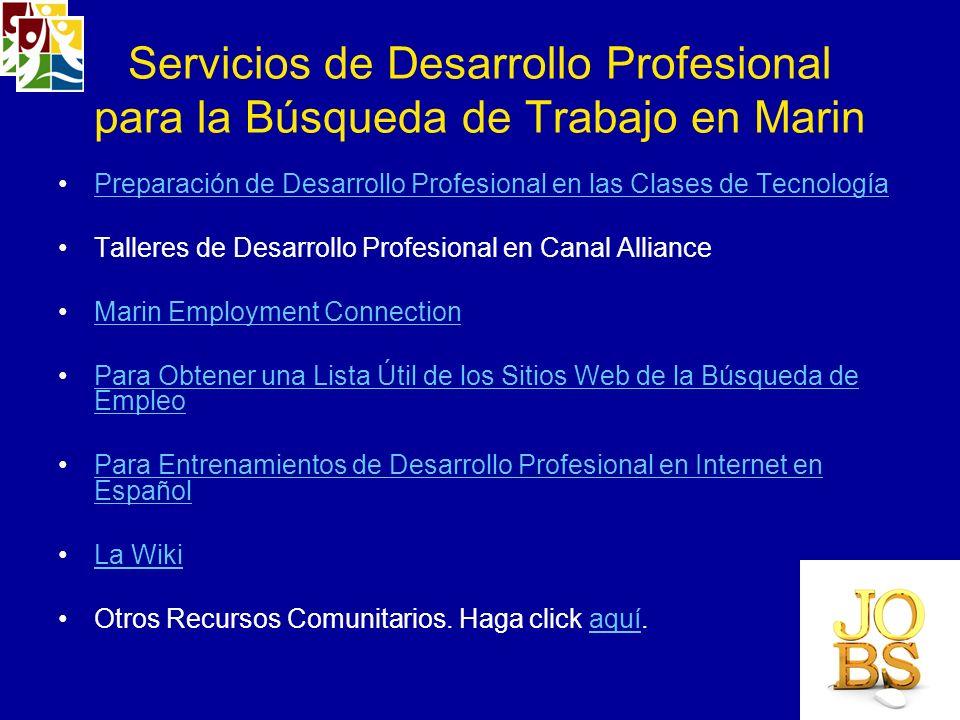 Servicios de Desarrollo Profesional para la Búsqueda de Trabajo en Marin
