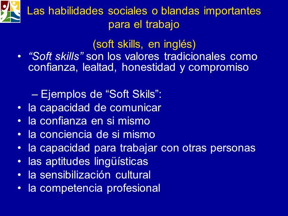 Las habilidades sociales o blandas importantes para el trabajo (soft skills, en inglés)