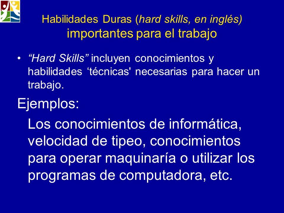 Habilidades Duras (hard skills, en inglés) importantes para el trabajo