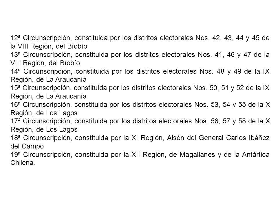12ª Circunscripción, constituida por los distritos electorales Nos