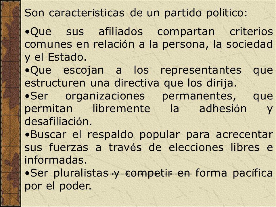 Son características de un partido político: