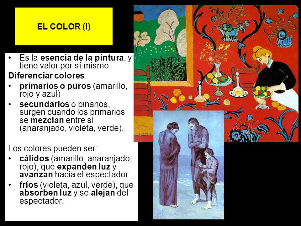 EL COLOR (I) Es la esencia de la pintura, y tiene valor por sí mismo. Diferenciar colores: primarios o puros (amarillo, rojo y azul)