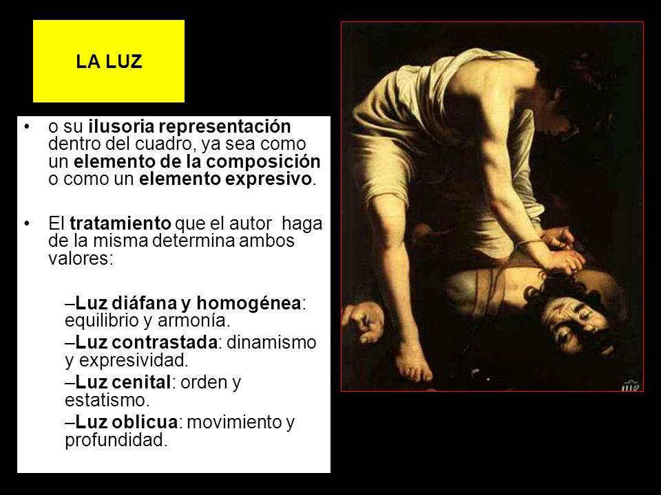LA LUZo su ilusoria representación dentro del cuadro, ya sea como un elemento de la composición o como un elemento expresivo.