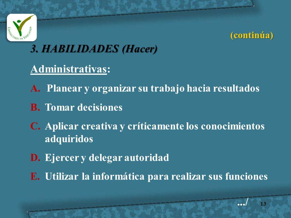 3. HABILIDADES (Hacer) Administrativas: .../