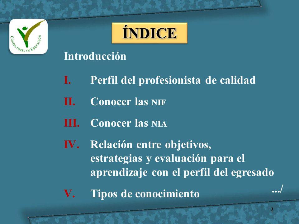 ÍNDICE Introducción Perfil del profesionista de calidad