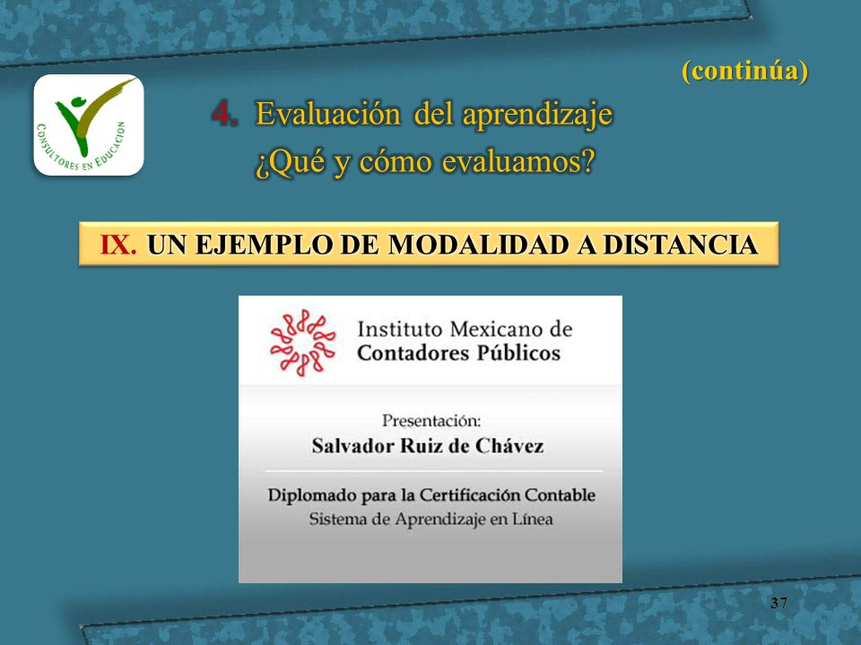 IX. UN EJEMPLO DE MODALIDAD A DISTANCIA