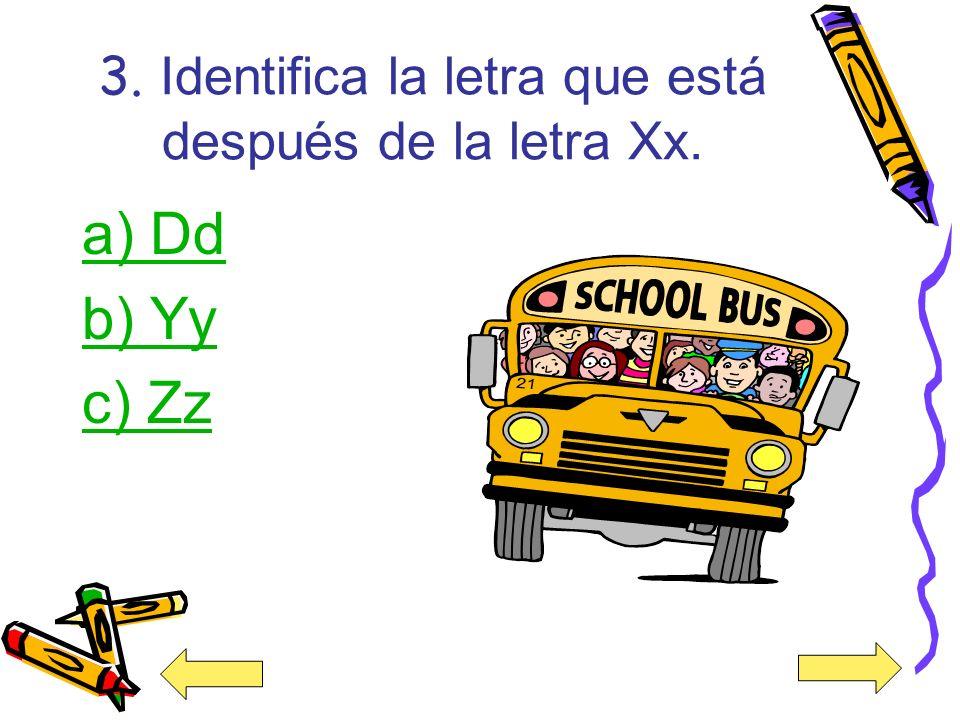 3. Identifica la letra que está después de la letra Xx.