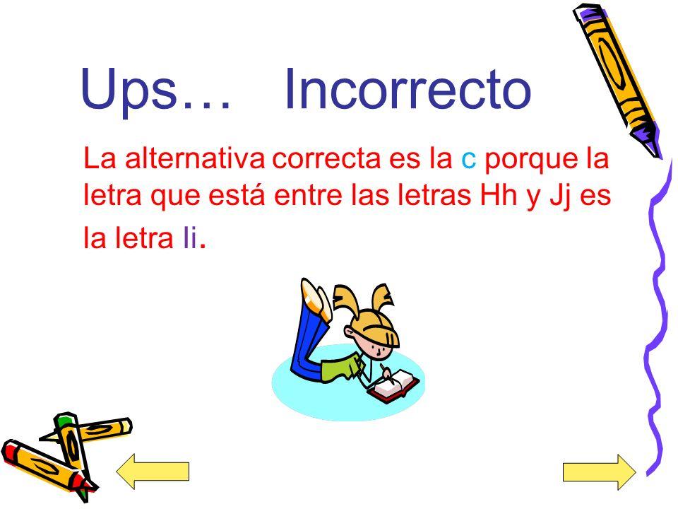 Ups… Incorrecto La alternativa correcta es la c porque la letra que está entre las letras Hh y Jj es la letra Ii.