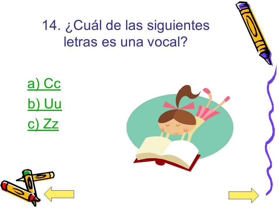 14. ¿Cuál de las siguientes letras es una vocal
