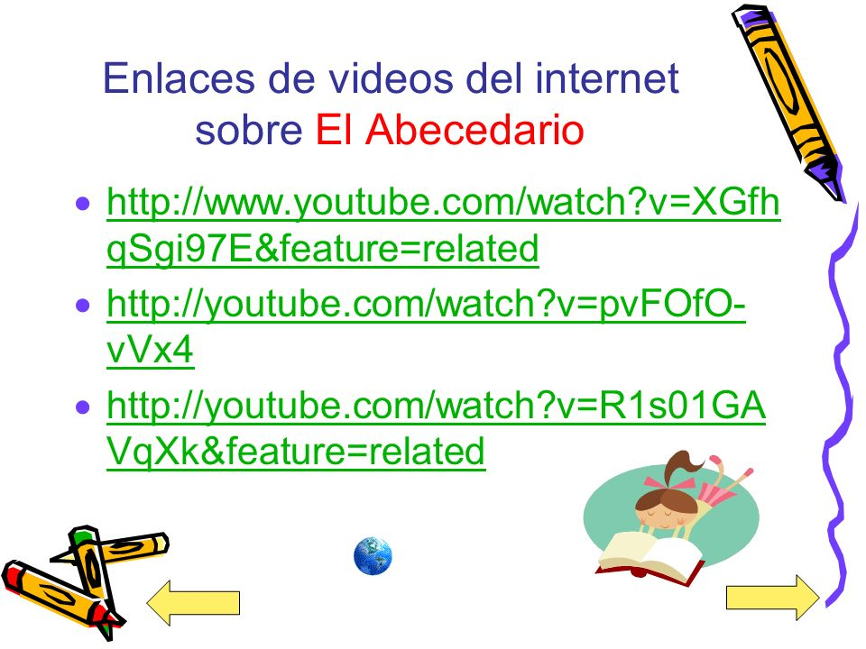 Enlaces de videos del internet sobre El Abecedario