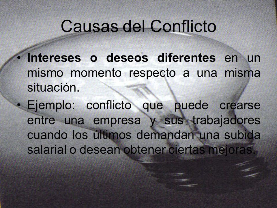 Causas del Conflicto Intereses o deseos diferentes en un mismo momento respecto a una misma situación.