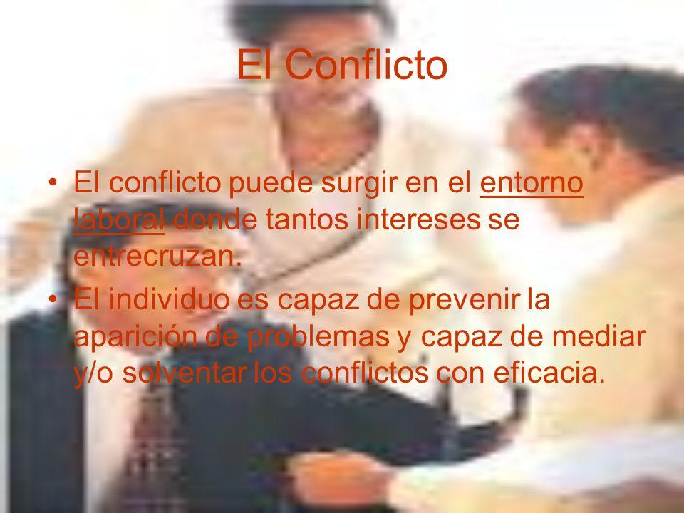 El Conflicto El conflicto puede surgir en el entorno laboral donde tantos intereses se entrecruzan.