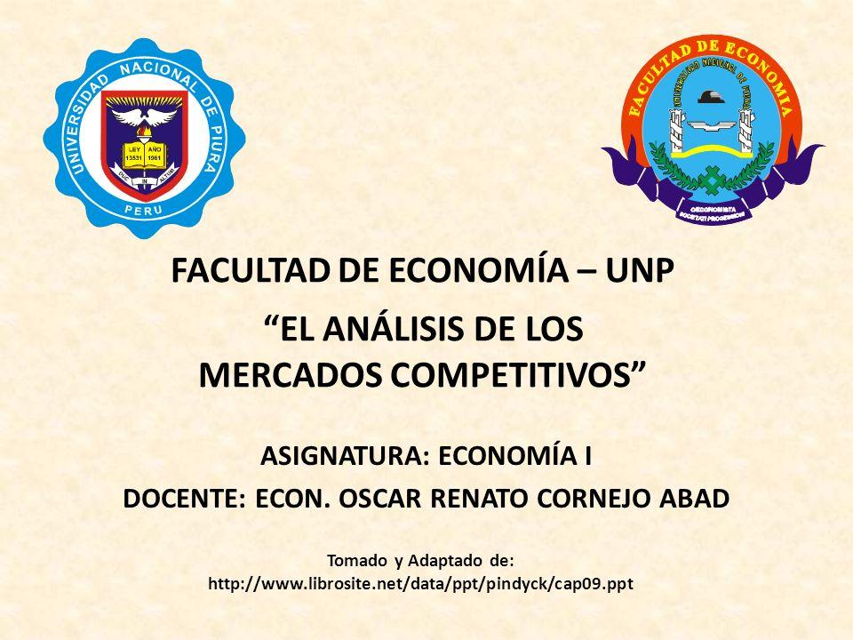 FACULTAD DE ECONOMÍA – UNP EL ANÁLISIS DE LOS MERCADOS COMPETITIVOS