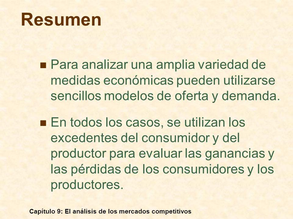 ResumenPara analizar una amplia variedad de medidas económicas pueden utilizarse sencillos modelos de oferta y demanda.