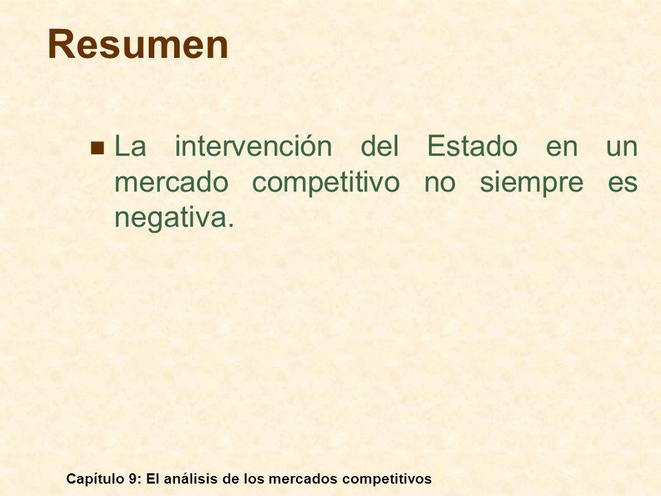 Resumen La intervención del Estado en un mercado competitivo no siempre es negativa. Capítulo 9: El análisis de los mercados competitivos.