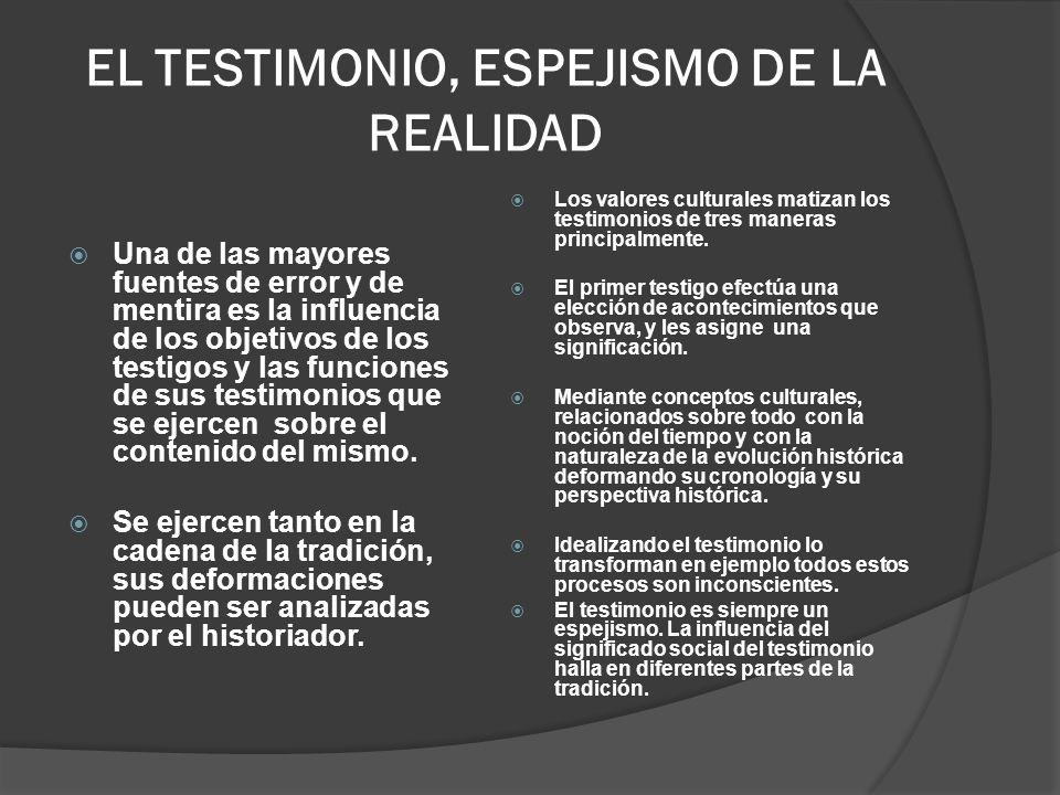 EL TESTIMONIO, ESPEJISMO DE LA REALIDAD