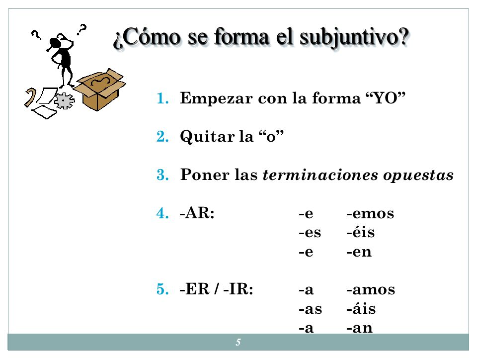 ¿Cómo se forma el subjuntivo