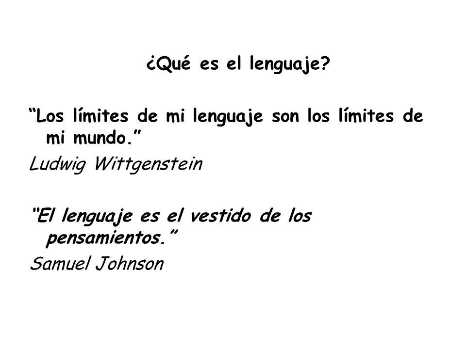 ¿Qué es el lenguaje Los límites de mi lenguaje son los límites de mi mundo. Ludwig Wittgenstein.