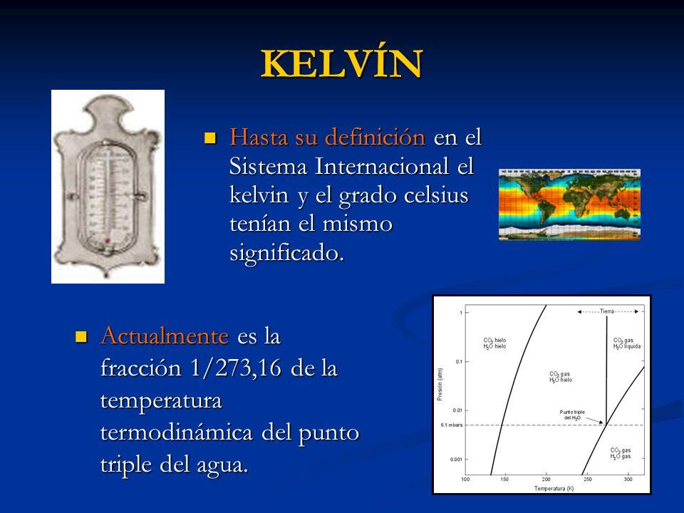 KELVÍN Hasta su definición en el Sistema Internacional el kelvin y el grado celsius tenían el mismo significado.