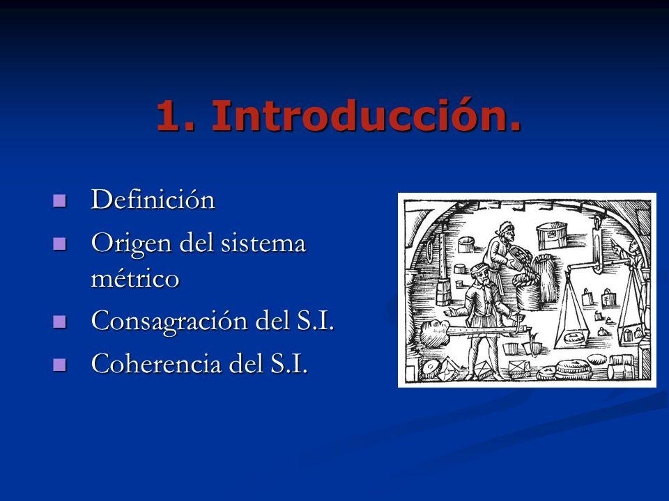 1. Introducción. Definición Origen del sistema métrico