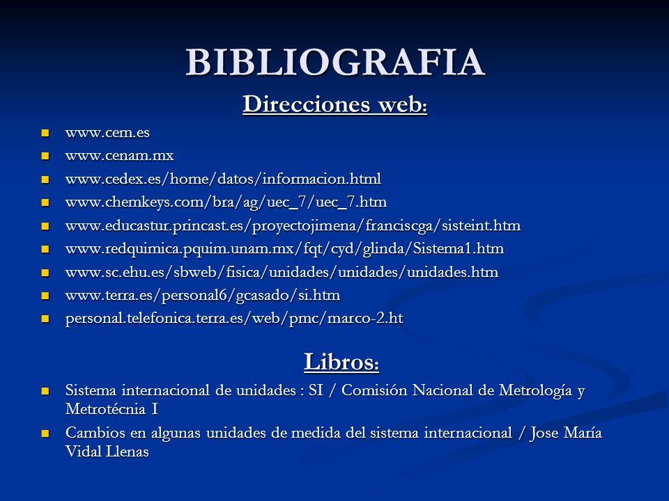BIBLIOGRAFIA Direcciones web: Libros: www.cem.es www.cenam.mx