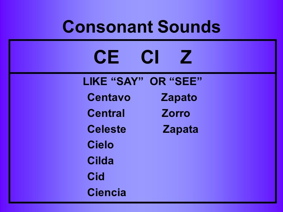 CE CI Z Consonant Sounds LIKE SAY OR SEE Centavo Zapato
