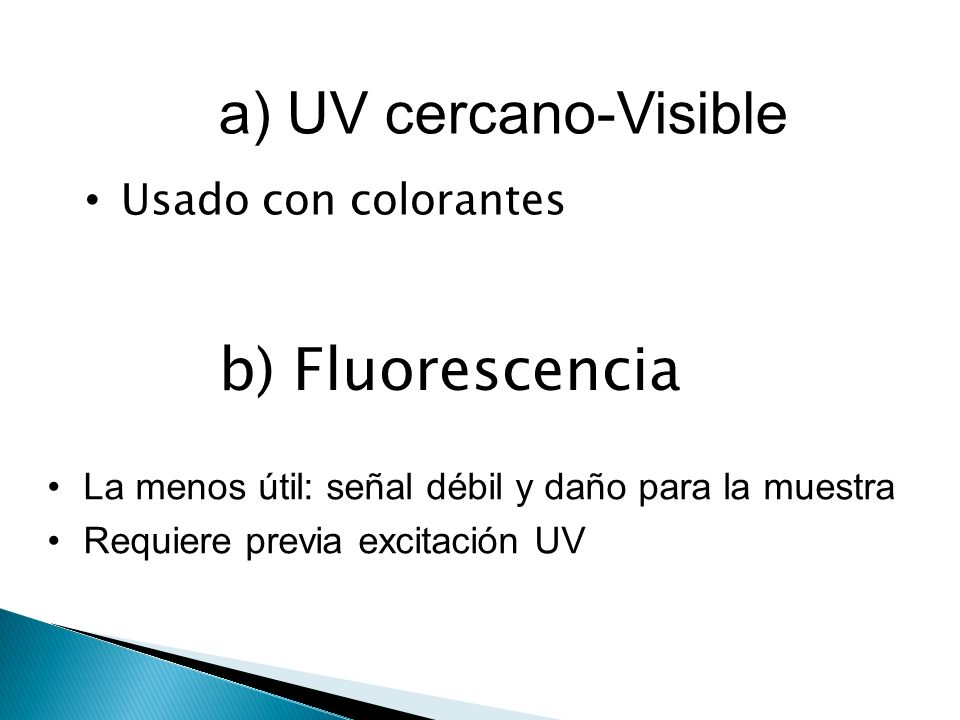 a) UV cercano-Visible b) Fluorescencia Usado con colorantes