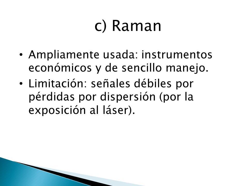 c) Raman Ampliamente usada: instrumentos económicos y de sencillo manejo.