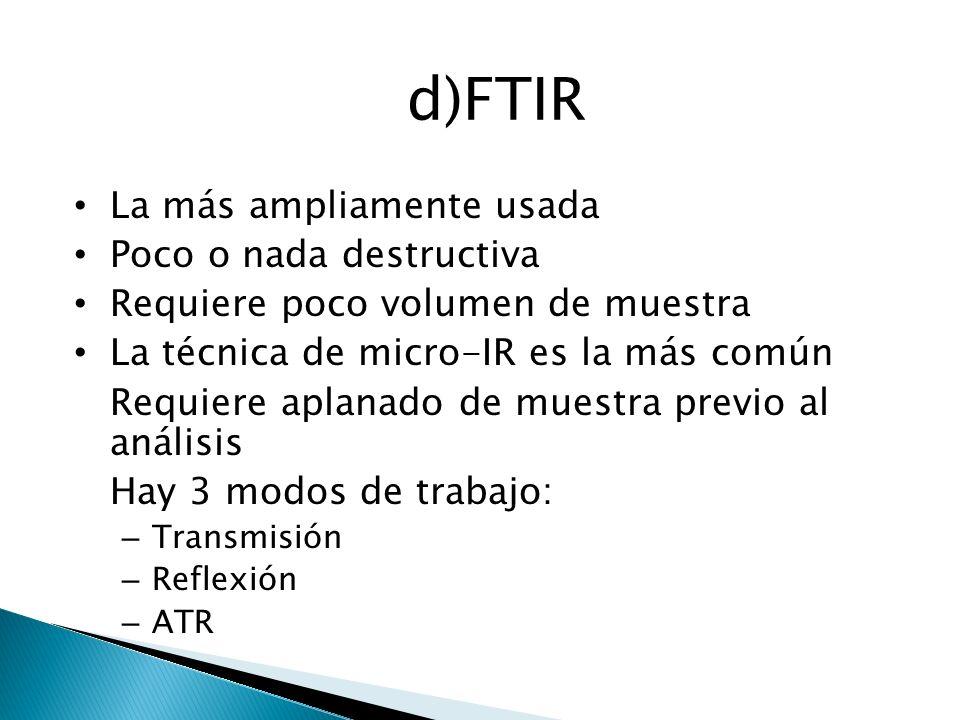 d)FTIR La más ampliamente usada Poco o nada destructiva