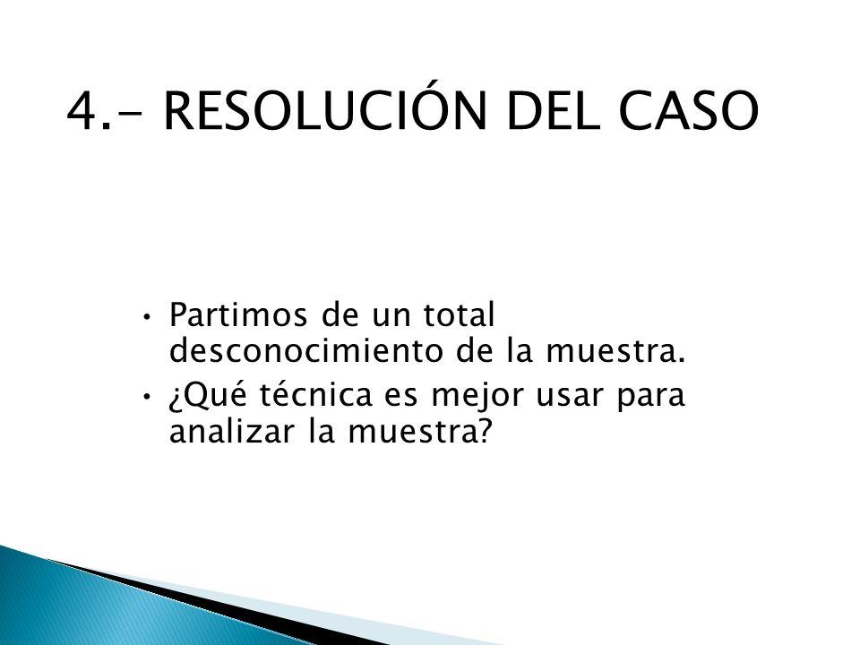 4.- RESOLUCIÓN DEL CASO Partimos de un total desconocimiento de la muestra.