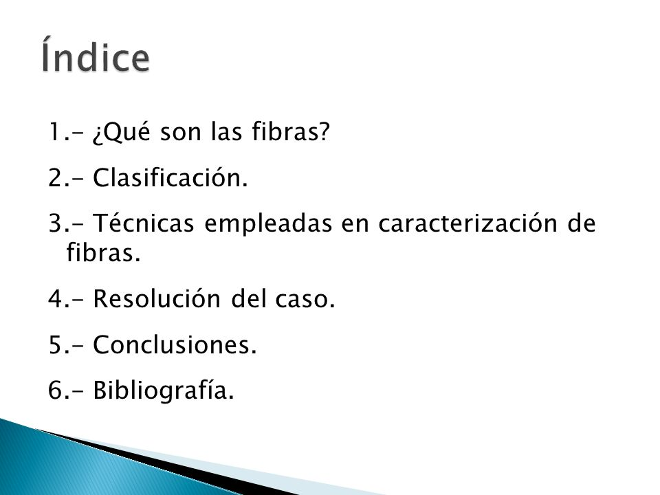 Índice 1.- ¿Qué son las fibras 2.- Clasificación.