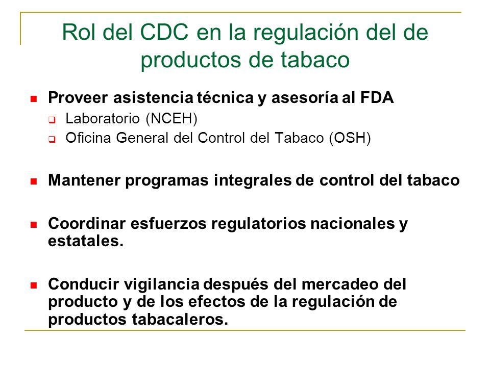 Rol del CDC en la regulación del de productos de tabaco