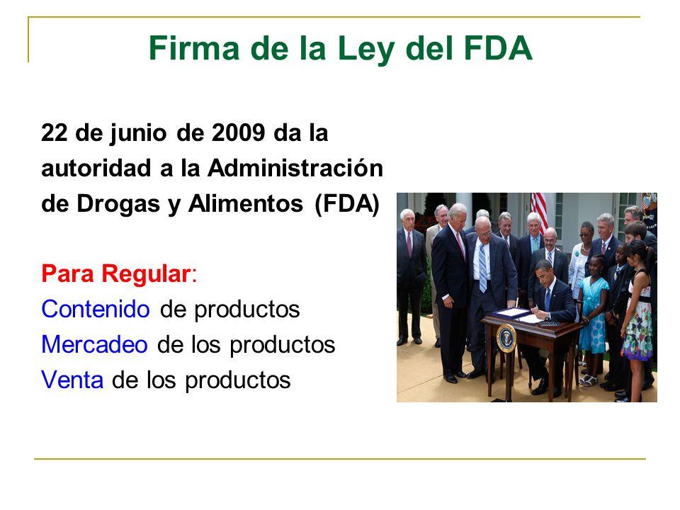 Firma de la Ley del FDA 22 de junio de 2009 da la