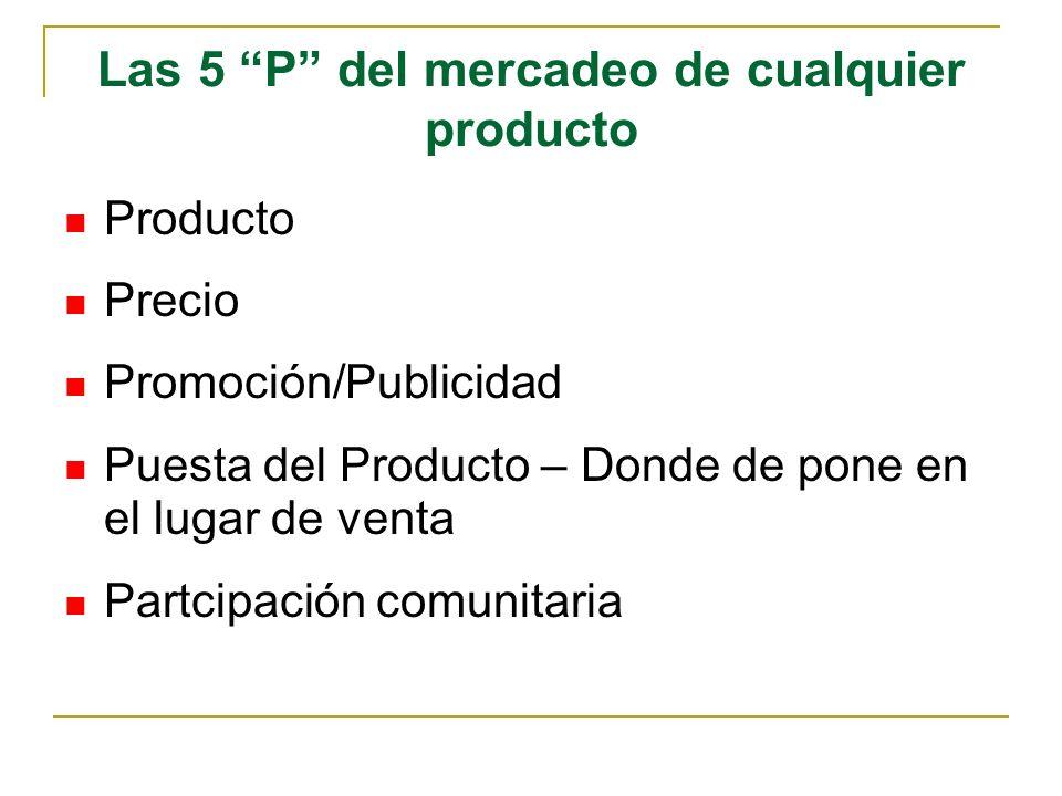 Las 5 P del mercadeo de cualquier producto