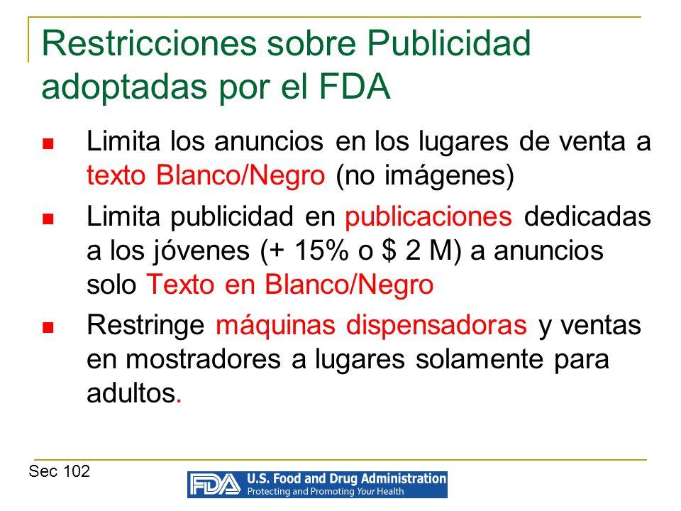 Restricciones sobre Publicidad adoptadas por el FDA