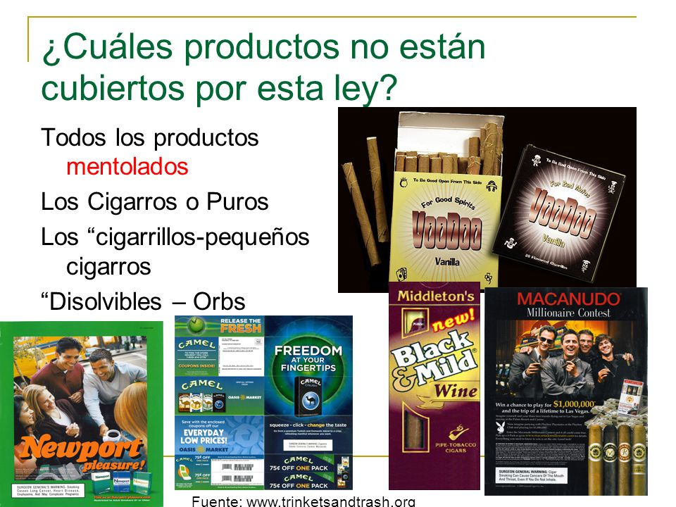 ¿Cuáles productos no están cubiertos por esta ley