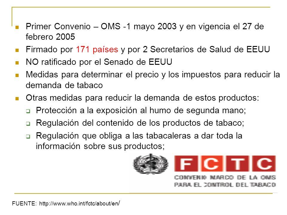 Primer Convenio – OMS -1 mayo 2003 y en vigencia el 27 de febrero 2005