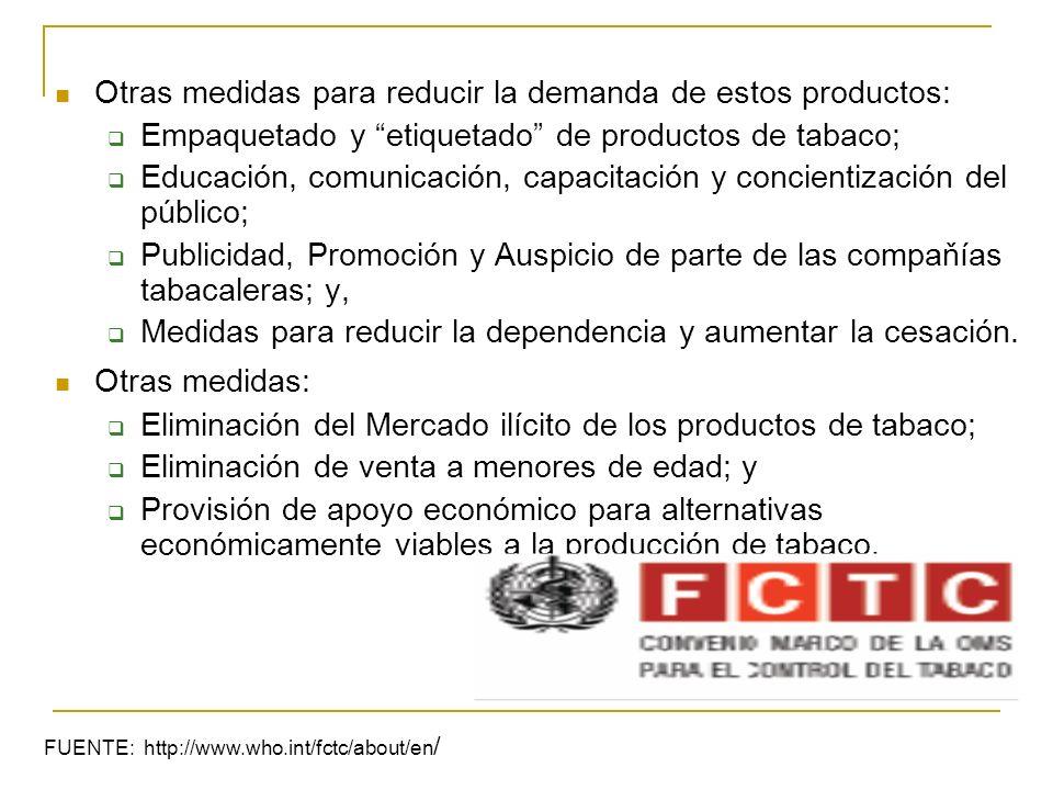 Otras medidas para reducir la demanda de estos productos: