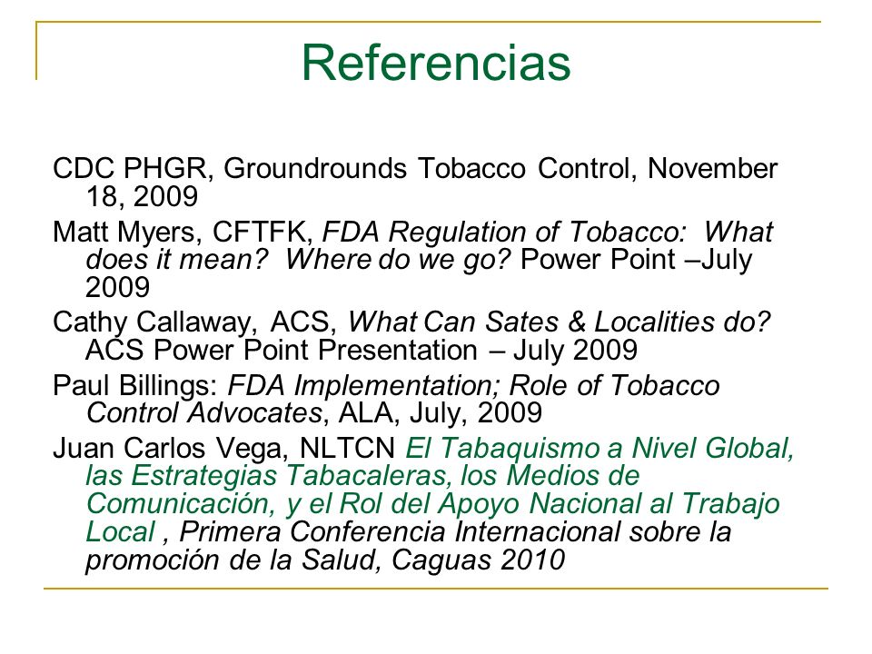 Referencias CDC PHGR, Groundrounds Tobacco Control, November 18, 2009