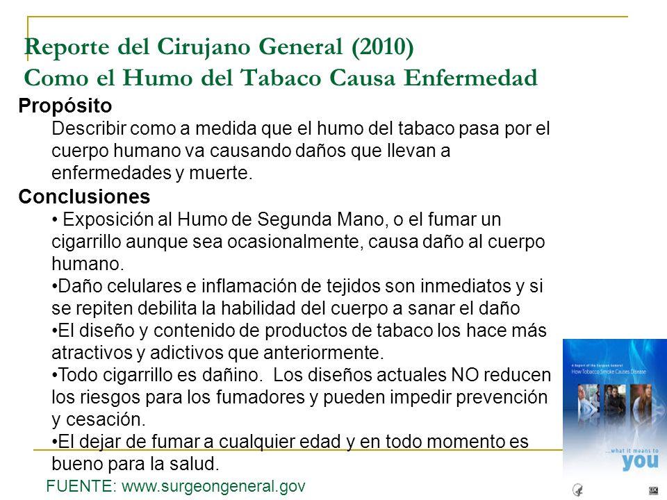Reporte del Cirujano General (2010) Como el Humo del Tabaco Causa Enfermedad