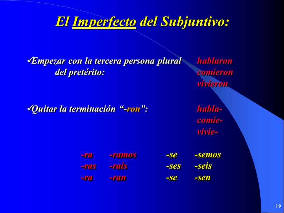 El Imperfecto del Subjuntivo: