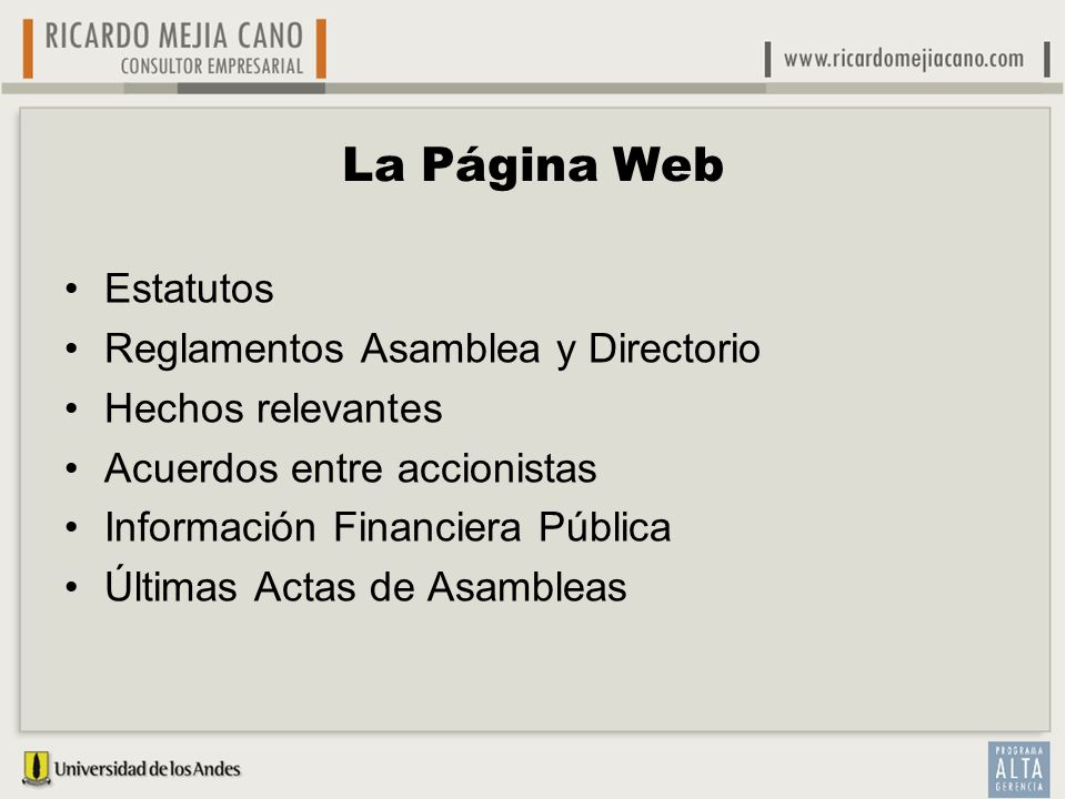 La Página Web Estatutos Reglamentos Asamblea y Directorio