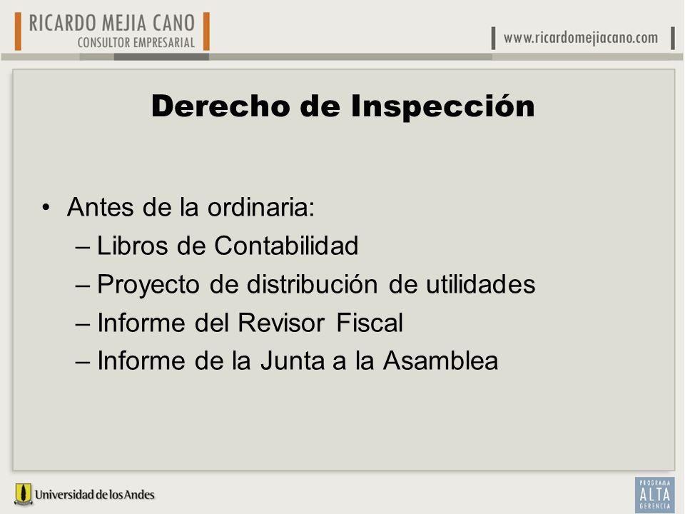 Derecho de Inspección Antes de la ordinaria: Libros de Contabilidad