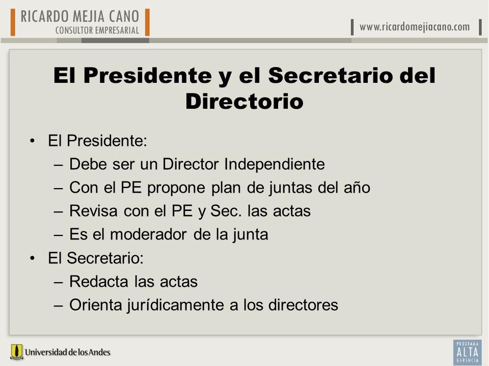 El Presidente y el Secretario del Directorio