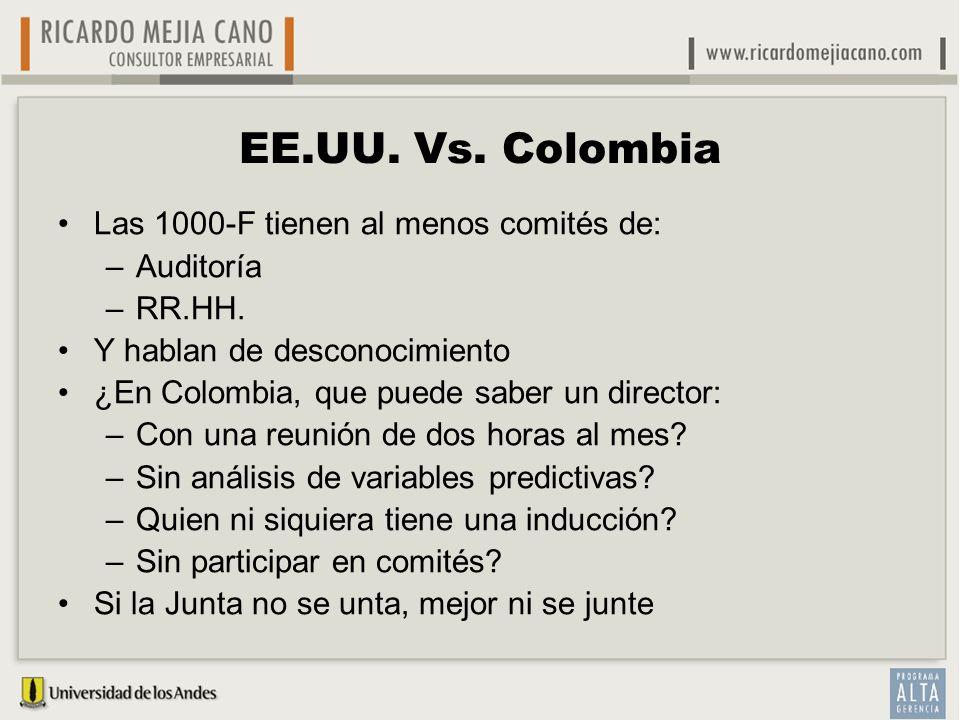 EE.UU. Vs. Colombia Las 1000-F tienen al menos comités de: Auditoría