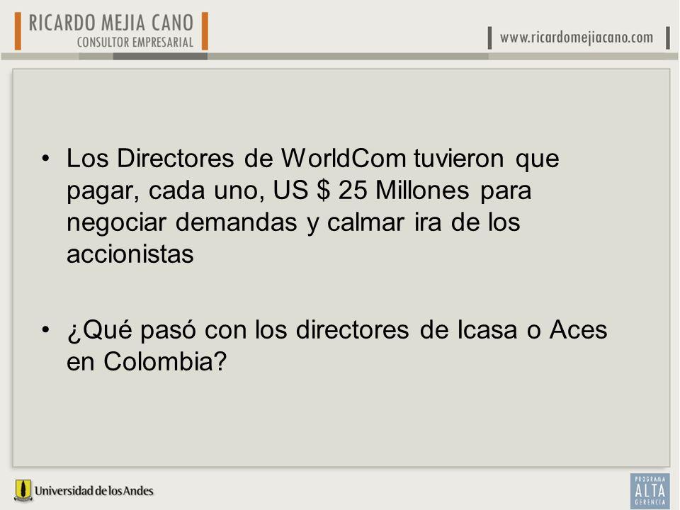 Los Directores de WorldCom tuvieron que pagar, cada uno, US $ 25 Millones para negociar demandas y calmar ira de los accionistas