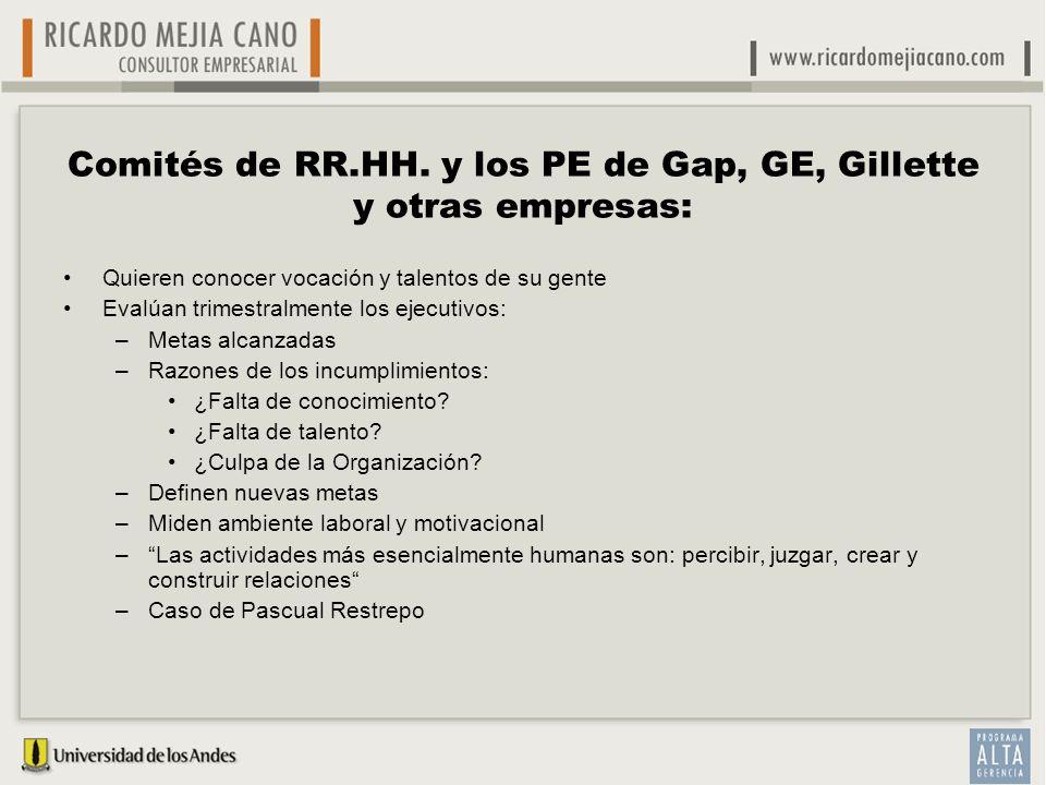 Comités de RR.HH. y los PE de Gap, GE, Gillette y otras empresas: