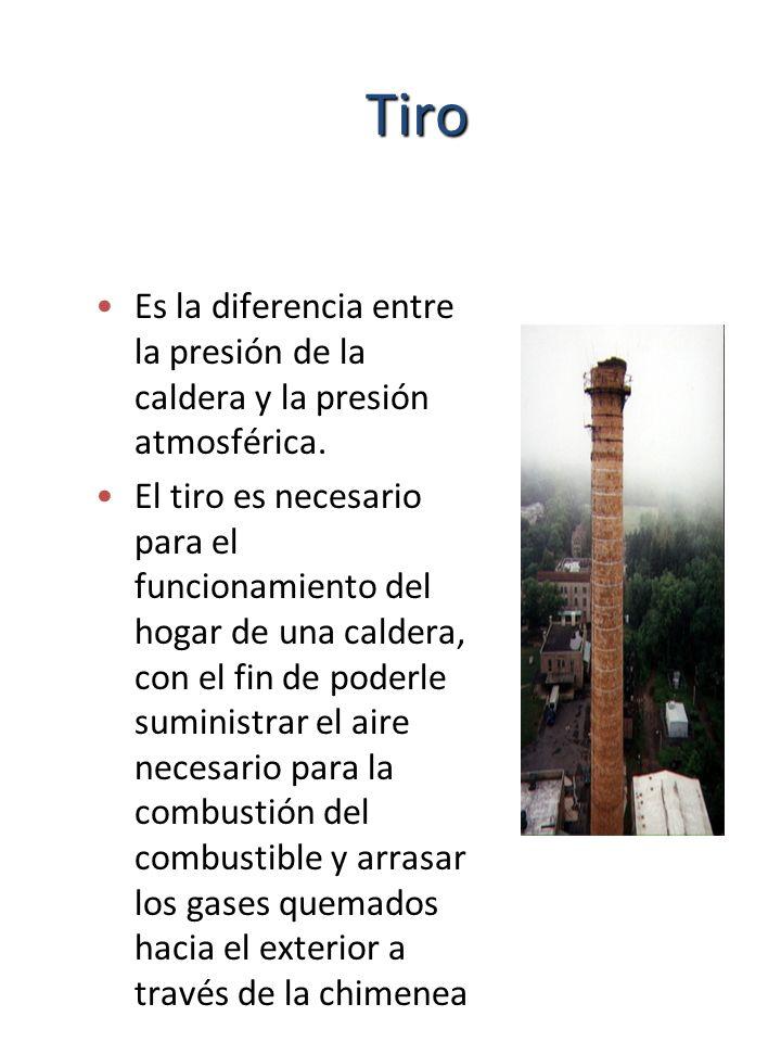 TiroEs la diferencia entre la presión de la caldera y la presión atmosférica.